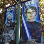 Various Star Wars banners throughout the park