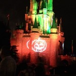 Cinderella Castle during HalloWishes