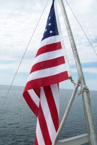 American Flag on ship