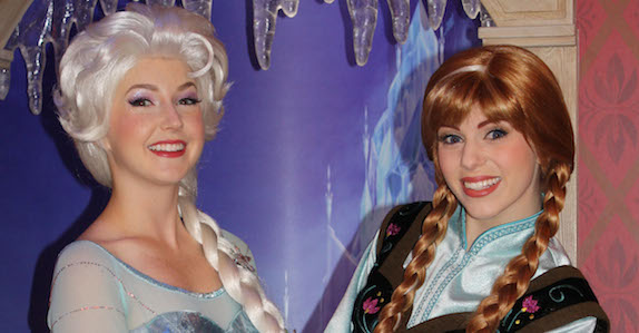 Anna and Elsa Greet Guests