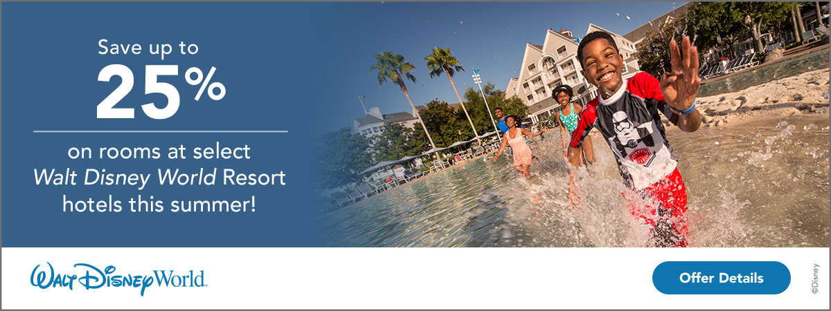 Save up to 25% on rooms at select Walt Disney World Resort Hotels this summer!